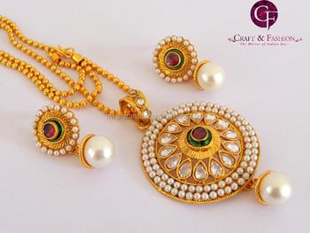 One gram gold plated pendant set wholesale indian ethnic handmade one gram gold plated pendant set wholesale indian ethnic handmade polki jewelry kundan jewelry aloadofball Images
