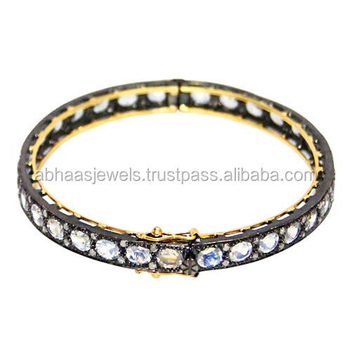 14 Karat Gold Und Silber Pave Diamond Designer Türkis