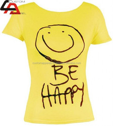 Unisex Top soft t shirt printing,mass production Be Happy t shirts/ screen printing t shirts