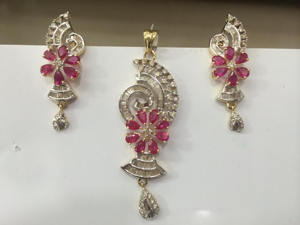 14k bis hallmarked gold ruby diamond pendant set buy diamond 14k bis hallmarked gold ruby diamond pendant set aloadofball Image collections