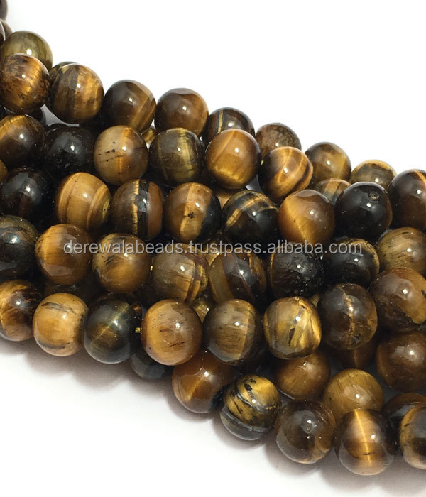 Wholesale Tigereye Plain Round 6mm to 9mm Semi Precious Beads Derewala International Jewellers