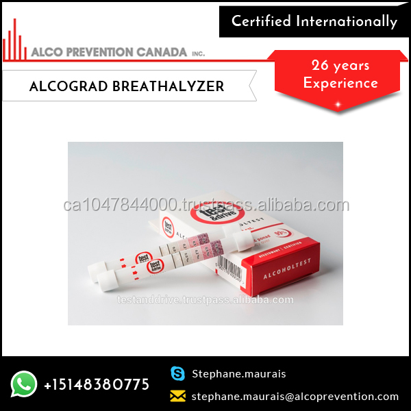 Single Use Disposable Breathalyzer Tester Allows Consumers To Perform A Confidential Test