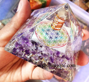 Orgone amethyst flower of life chakra pyramid with charge crystal orgone amethyst flower of life chakra pyramid with charge crystal point orgonite for sale mozeypictures Images