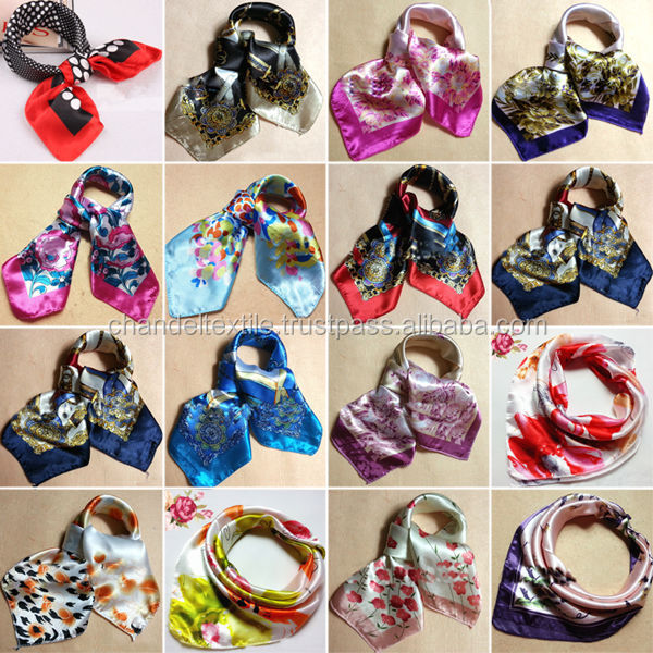 Soft Silk Square Scarf Scarves Bandanas Head Wrap Shawl Satin Stewardess Silk scarf stole women wears