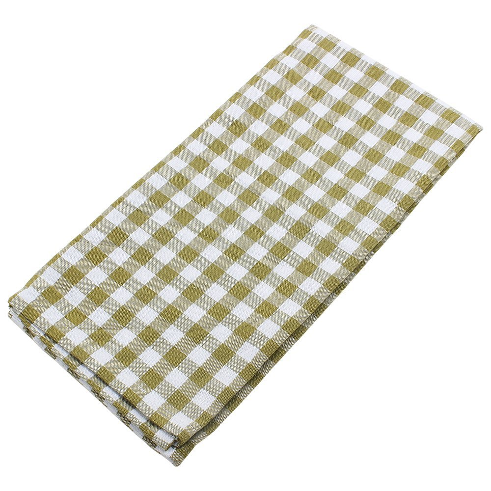 Set of 3 Kitchen Dish Towels Hand Woven in Pure Cotton & Green White Checks