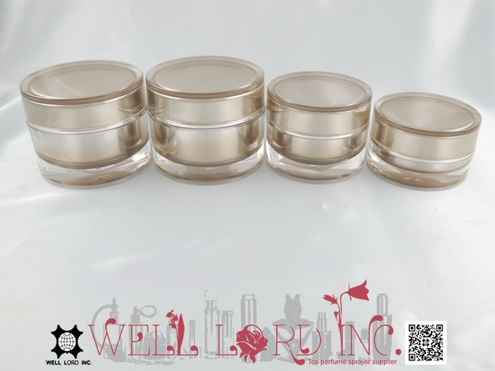 Dazzling golden outer cover round empty cosmetic MS jar