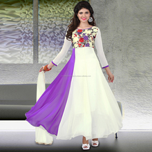 Paars Georgette Digitale Gedrukt Party Ware Semi-Gestikt <span class=keywords><strong>Salwar</strong></span> <span class=keywords><strong>Pak</strong></span>.
