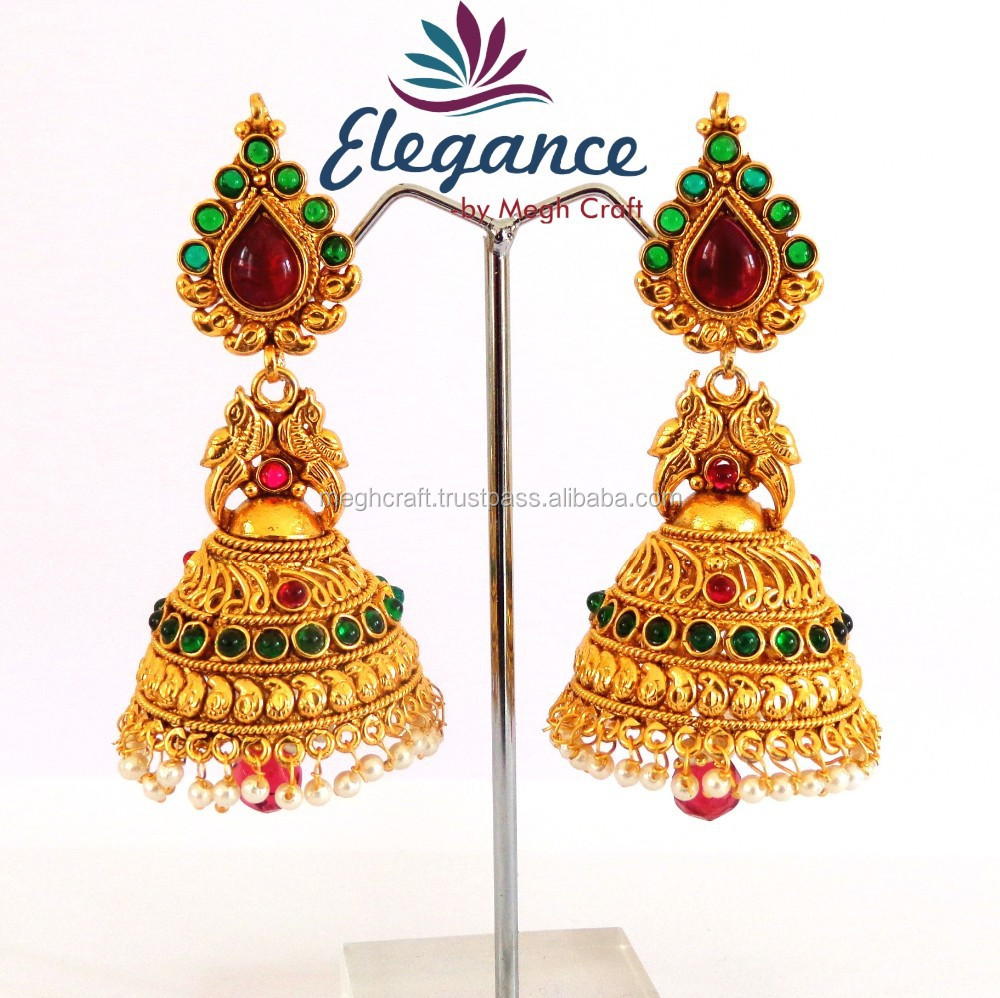 water gold big color jhumka jewellery earrings rings with product
