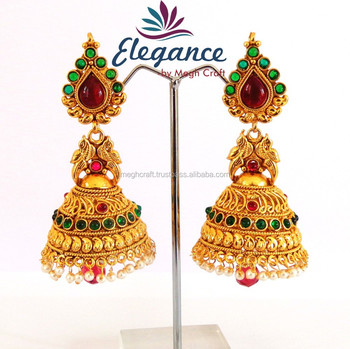 Wholesale Indian Ethnic Earring One Gram Gold Jewelry south
