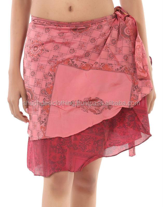 Exclusive Vintage Silk Saree Knee Length Wraparound Mini Skirt ...