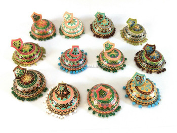 Bollywood Designer Meenakari Jhumka Earring Earrings Indo Western Style