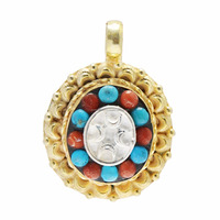 Yellow Gold Plated Silver Pendant Coral & Turquoise Stone Pendant Jewelry