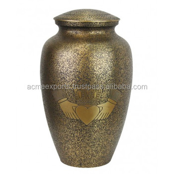 Brass Antique Style Cremation Urn With Heart Printed Hand