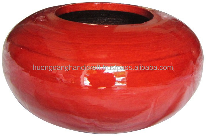 Round one hole bamboo Vase, red lucky chinese wedding party vase