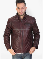 Cost Effective Stylish Leather Skin Men Distressed Maroon Genuine Leather Jacket
