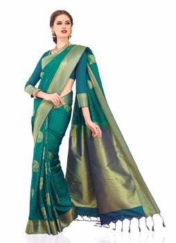 Meghdoot Tradisional Art Silk Saree Sari Turquoise Warna Hijau Grosir