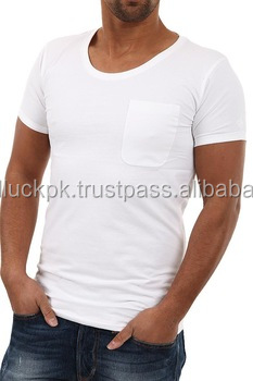O Neck T Shirts With Pocket-plain Cotton T-shirt-slim Fitted Plain ...