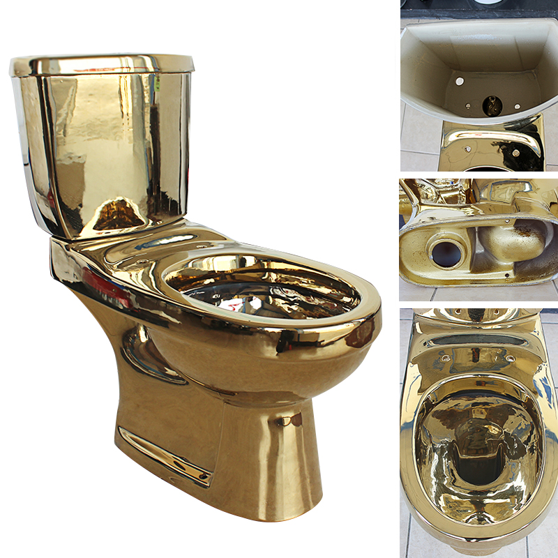 Ceramic two piece gold color toilet
