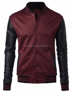 Mens Slim fit Baseball Fleece Jacket with High Quality PU Leather Sleeves with Hood