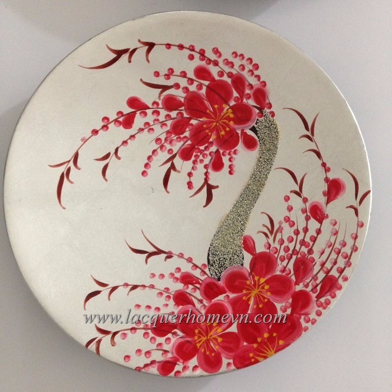 Vietnam lacquerware supplier- Wood mother of pearl inlaid dish, - http://lacquerhomevn.com/