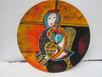 Hand painted lacquer dish with unique abstract painting