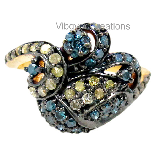 925 sterling silver Pave diamond blue diamond setted wholesale jewelry engagement wedding ring