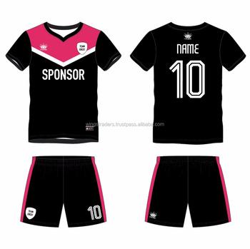 b3d886ec87 Conjuntos Da Equipe de Futebol Sublimada Jerseys   Shorts Uniformes Kits  preto