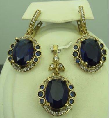 f66c7c17a79b6 925 Sterling Silver Turkish Handmade Hurrem Sultan Style Sapphire Zircon  Authentic Women's Set Jewelry Wholesale - Buy 925 Sterling Silver,Woman ...