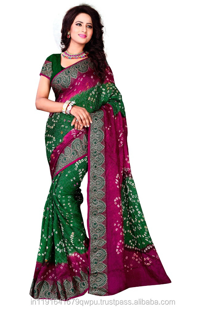 Party Wear Function Wear Cotton Silk Bandhani Saree For Women
