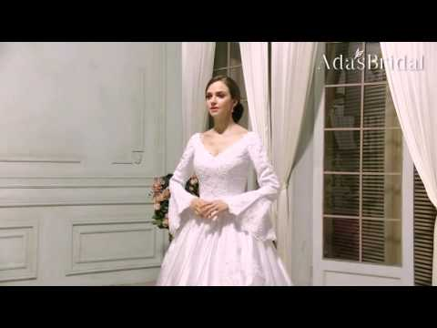 Vintage Satin V-neck Neckline Ball Gown Wedding Dress - Adasbridal WWD75061)