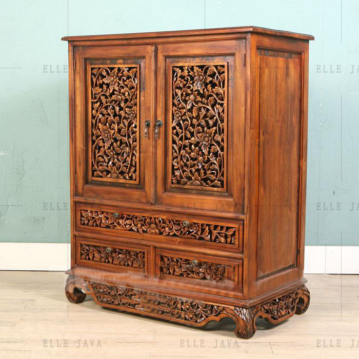 Wooden Furniture Living Room Furniture Hand Carving Antique Wooden Cabinet