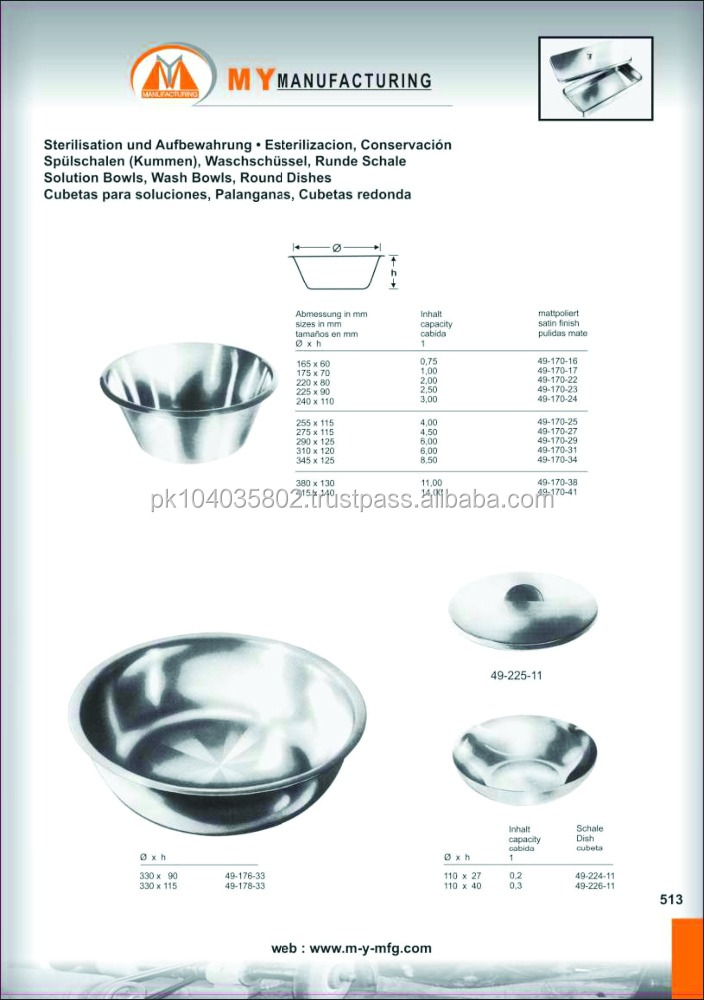 solution bowls, wash bowls round dishes