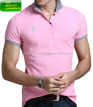 9685a368 Men Light Pink Boys Polo Shirt Pique Casual Stretch Collar Plain  Embroidered Short-Sleeve High