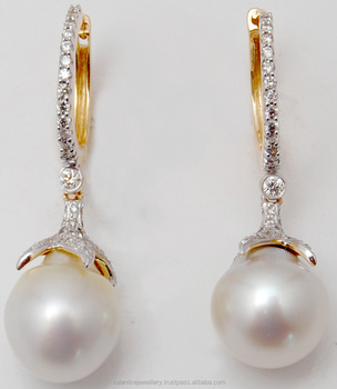 Diamond Hoop Attached Pearl Drop Earrings Manufacturer From India Yellow Gold Peal Product On