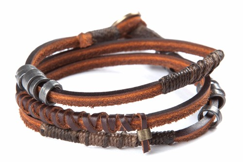 Unisex leather bracelet men or women multi strand