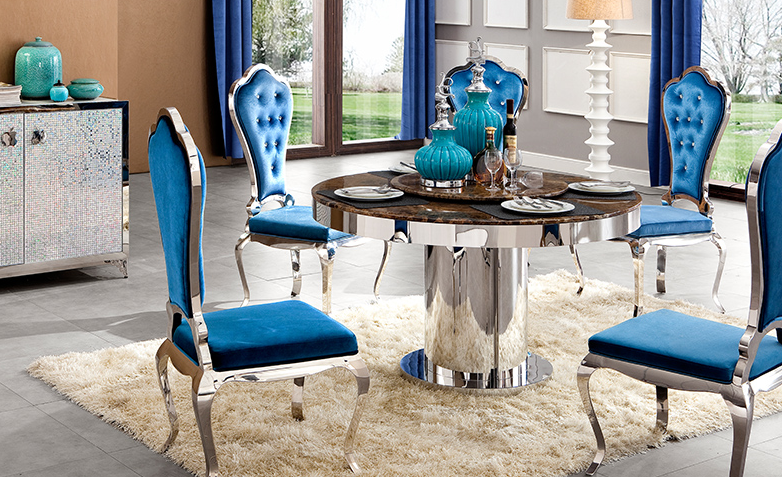 Modern marble top round dining table stainless steel base dinning table