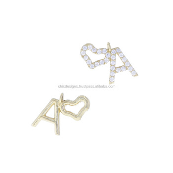 A Letter Heart Shape 14k Yellow Gold Cubic Zircon Charm Fashion Jewelry -  Buy Fashion Initial Jewelry,Charm,14k Gold Plated Jewelry Product on