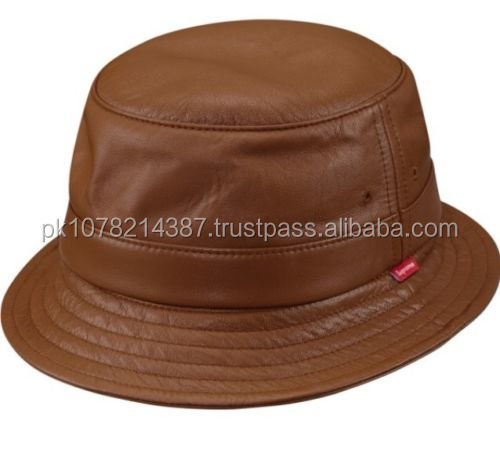 Supreme Leather Crusher Bucket Hat Brown Size for mens c8366526d0c