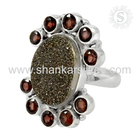 Unique Design Sterling Silver Jewelry Druzy & Garnet Ring Natural Gemstone Jewelry Exporter