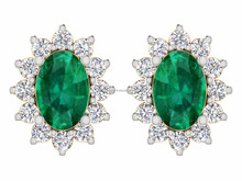 (Halal) 인증 Natural diamond & Real Emerald 14 천개 Yellow Solid 금 Earring