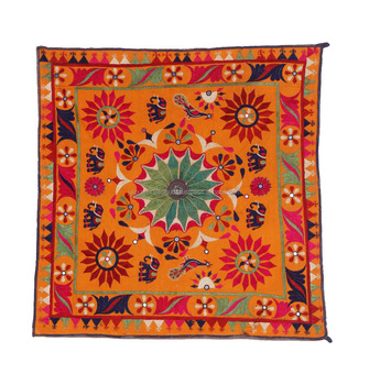 Floral Gujarati Chakla Embroidery Vintage Old Kutch Table Cloth ...