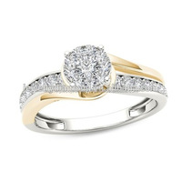 Spectecular! 3/8 CT. T.W. Diamond Frame Bypass Engagement Ring in 14K Two-Tone Canadian Diamonds Unusual Wedding Wholesale Price