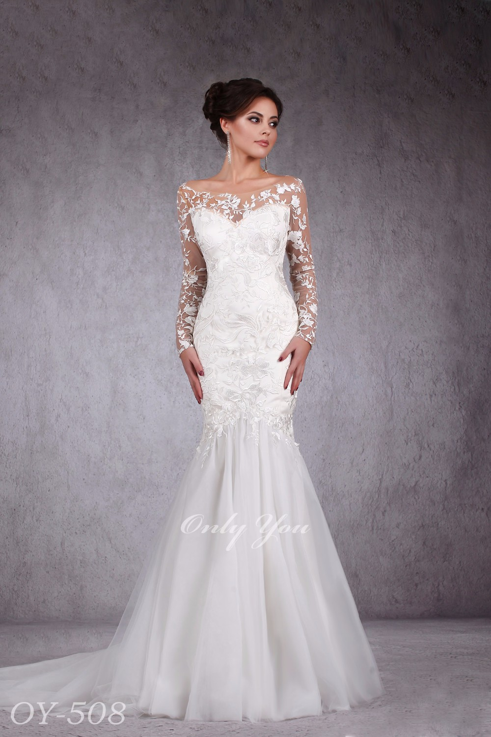 Sexy Fashinable Mermaid Wedding Dress Tender Assimetrical Floral Pattern See Through Back Long Sleeves Lux