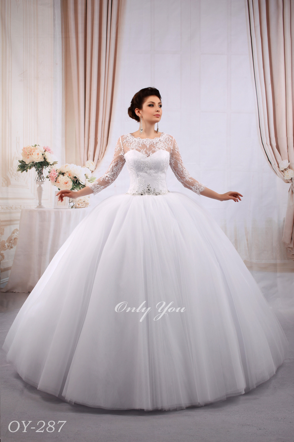 Extra volumetric ball gown muslim wedding dress with for 3 4 sleeve ball gown wedding dress