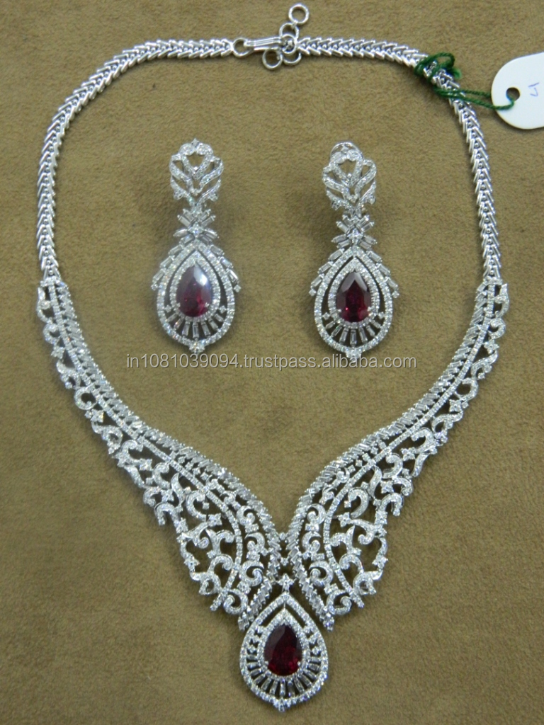 Heavy Diamond Necklace Set For Women Buy Big Diamonds Necklace Set Diamond Necklace Design Diamond Necklace Designs Bridal Product On Alibaba Com