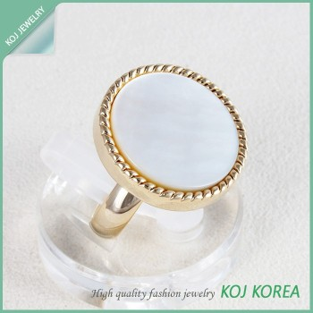 Kr-671 White Circle Free Size Ring Accessories Hollywood Style ...