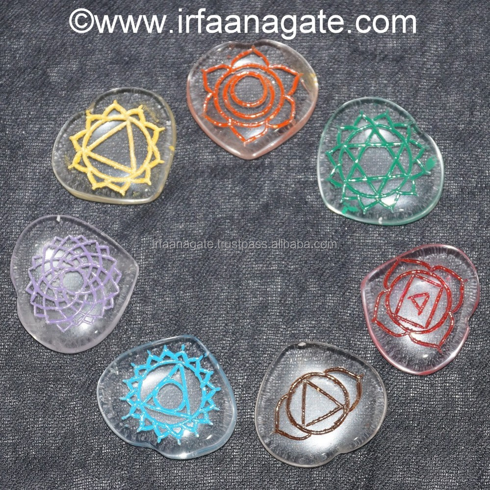 Crystal Quartz Colourful Chakra Reiki Engraved Hearts Set: Wholesale Chakra Reiki Engraved Set