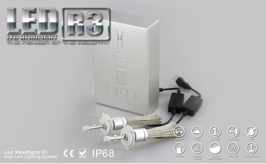 High Power 4800lm R3 Led Headlight Car Accessories / 3th ...