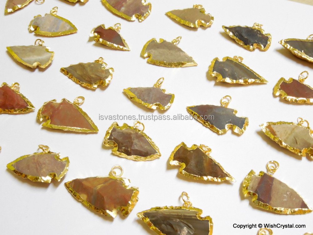 Gold Plated Arrowhead Pendant Goldplated Jasper Stone Arrowhead ...