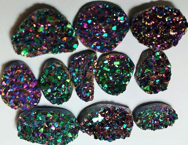 Rainbow Green Titanium Aura Amethyst Freeform Druzy Pendant w Silver Bail DR48CN